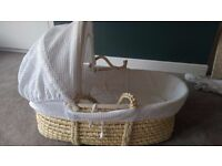 REDUCED: John Lewis Moses Basket - good condition. RRP £55. Also selling rocking stand separately.