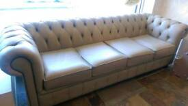 4 seat cream leather sofa