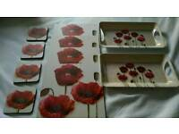 Poppy placemats, coasters and trays