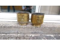 2x Antique Brass fleur de lis pattern Plant Pot