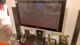 Panasonic Viera 50 inch plasma TV, full HD (1080p) with FreeView, + Glass black stand and Bush 5.1