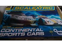 Scalextric Set With Two Cars and Extra Track Pieces -- Excellent Condition