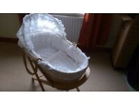 White Lace Moses Basket & Stand