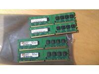 4 x 1GB PC2-5300 DDR2-667MHz non-ECC Unbuffered CL5 240-Pin DIMM Desktop PC RAM