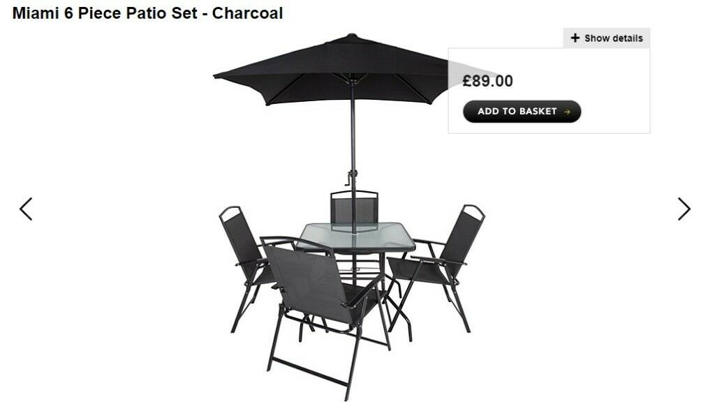 asda george miami 6 piece patio set new and never used rrp 89