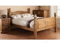 Wooden bed frame.