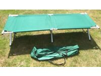 Folding steel / aluminium framed camp / cot bed with bag