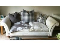 TWO SEATER SOFA, CREAM WITH WOODEN WHEEL LEGS - FROM LAURA ASHLEY