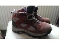 Hi-tec pink , grey and beige walking/hiking boots size 1 waterproof