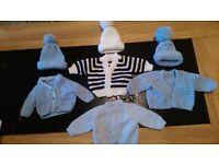 Newborn baby boy hand knitted cardigans & hats