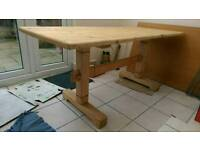 Rustic solid wood dining table / workbench 68cm X 140cm
