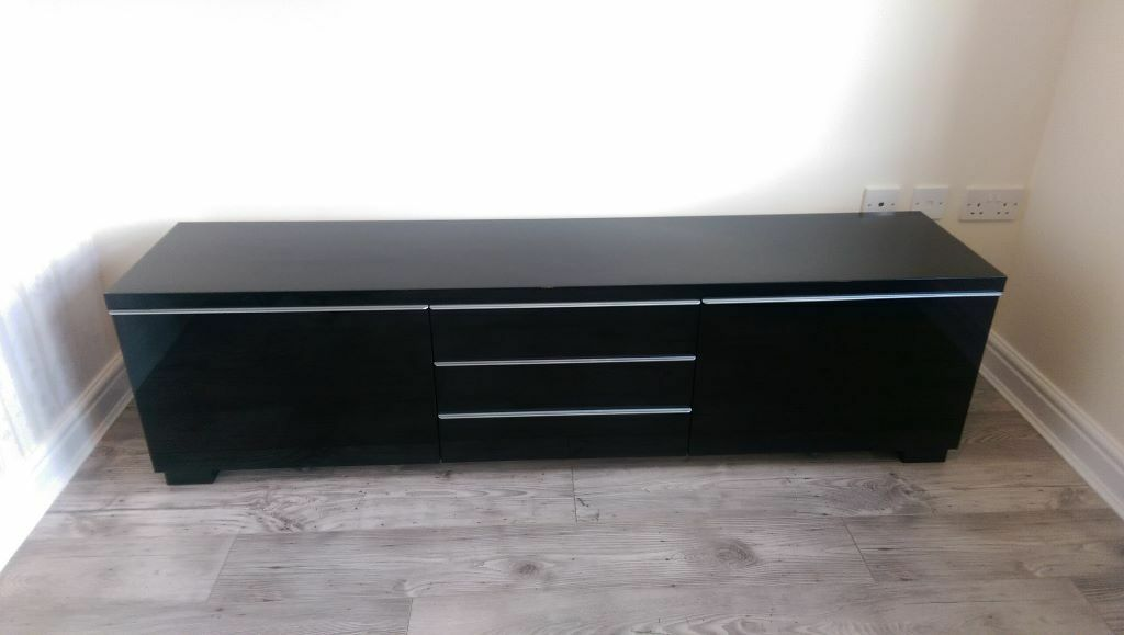 Tv Unit Ikea Black High Gloss Entertainment And Storage