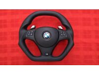 BMW M3 INDIVIDUAL FLAT TOP&BOTTOM EXTRA THICK CUSTOM MADE STEERING WHEEL
