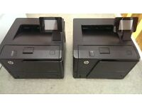 2x LaserJet Pro 400 M401dn A4 Mono Laser Printers Used, Black ink