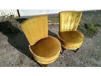 2 VINTAGE BEDROOM/FIRESIDE CHAIRS BY WADE OF LONG EATON