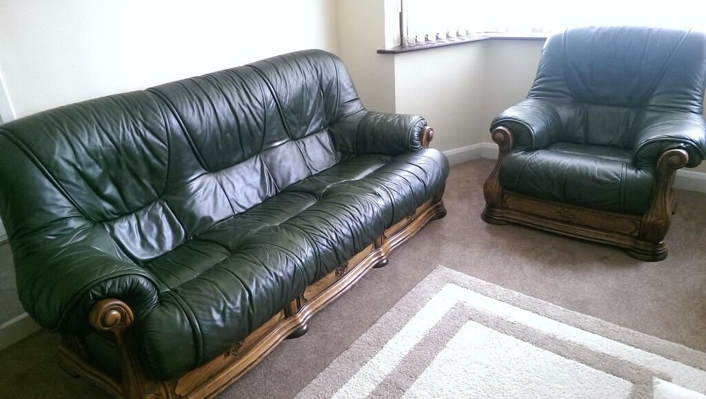 Green Leather Sofa Set With Wooden Frames And Drawers For Sale