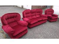 Comfy red sofa + 2 single chairs