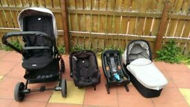 Joie Chrome Travel System Carry Cot Car Seat Isofix in Black