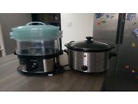 Slow cooker and 3-tier food steamer