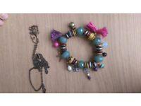Accessorize - Turquoise & Purple Charm Bracelet - Free Necklace - RRP£12