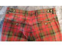 Red Tartan Tailored Trousers - 30-30 - Gresham Blake - Never worn