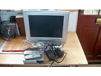 """FLATSCREEN 14""""t.v & DIGI BOX WITH CABLES AND REMOTES. AND VISION -PLUS PORTABLE DISH BY FOCUS"""