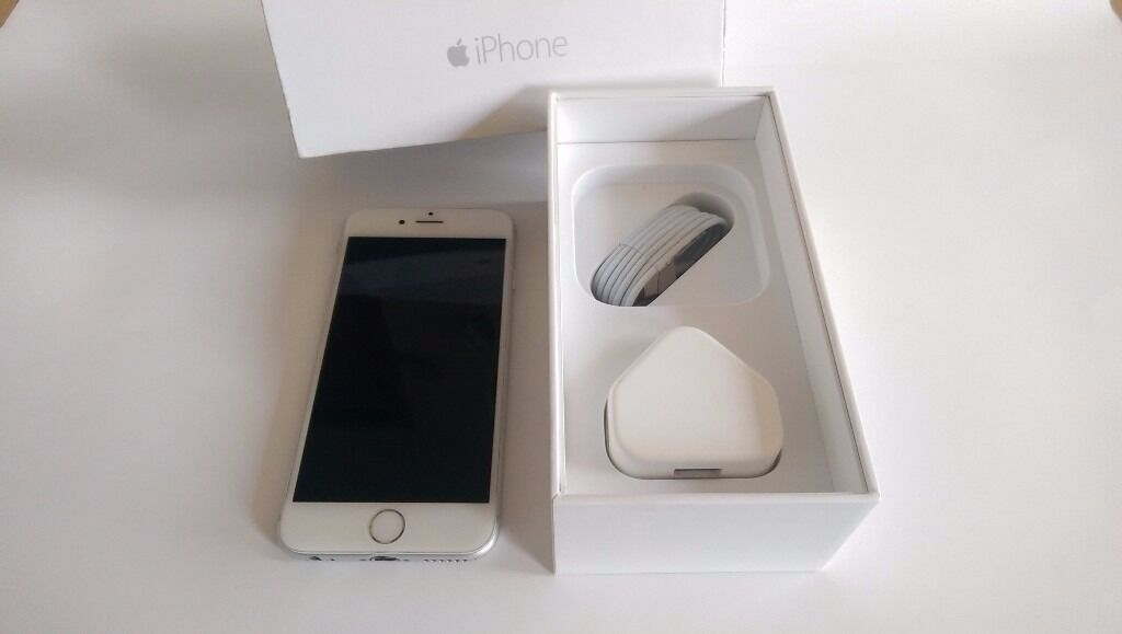 Very Good Condition Boxed Apple iPhone 6 16GB Silver White Cheap Smartphone Mobile Phone EE T MOBILEin Shepherds Bush, LondonGumtree - Apple iPhone 6 16GB Silver White Smartphone Locked to EE but can be unlocked for additional £15 Used but very good condition phone with minor signs of wear. Got few marks on the sides and around the edges. Some slight scratches on the back but just...