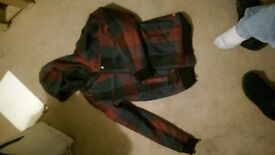 red and black checkered hooded jacket. never worn