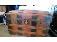Antique barrel shape sea chest/ trunk.