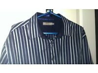 Jeff Banks 24:7 blue / silver multi-colour stripe shirt XL