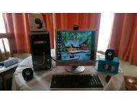 HP/Compaq desktop computer/wireless keyboard/monitor/wifi usb hub adapter, Z120 speakers + web cam