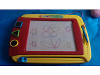 colour doodle magnetic drawing board with pen and shape stampers