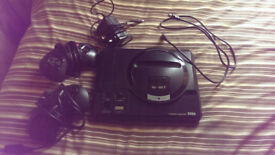 Sega Mega drive games console 2 Controllers 8 games including sonic 1 sonic 2 the lion king disney