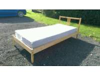 Can deliver: Ikea solid wooden pine single bed frame and mattress if wanted.