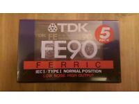 Pack of 5 TDK FE90 Tape Cassettes - New & Sealed