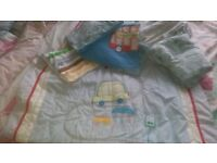 Mother care cot bedding x2 sheets x1 quilt with cars x1 cover red bus and pillow case hardly used