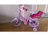 Apollo Cupcake Girls Bike 12inch wheels With stabilisers and doll carrier