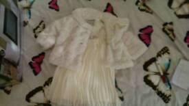 Ted baker ivory dress and fluffy debenhams coat