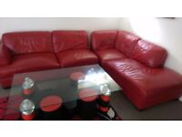 Leather Red Sofa snd glsss table