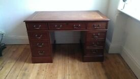 New Mahogany Pedestal Desk w/Tan Leather Top