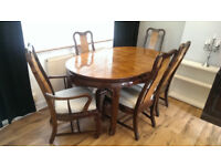 extendable dining table & 6 chairs set