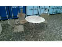 METAL GARDEN PATIO TABLE AND 3 CHAIRS