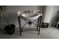 Three piece wash stand, ceramic sink and mirror from the Heritage range