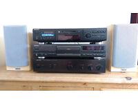 Hi-Fi Separates System - Rotel Amplifier, Sony LP MiniDisc, Technics CD Player, Tannoy MX1 Speakers