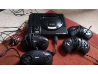 Sega Mega Drive (Megadrive) with 4 controllers and 11 games
