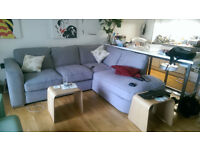 Corner sofa: grey fabric in great condition