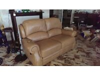 Reids 2 seatter leather sofa with reclining seats and 1 reclining leather chair