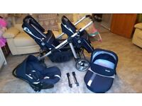 Brevi Ovo double pram with carrycot and carseat