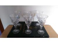 6 x Bohemia Pinwheel Symphony Collection Lead Crystal Wine Glasses