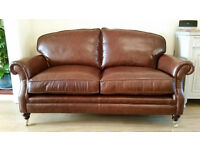 Laura Ashley Heritage Brown Leather Hertford Sofa Settee - 2 Available Matching Pair